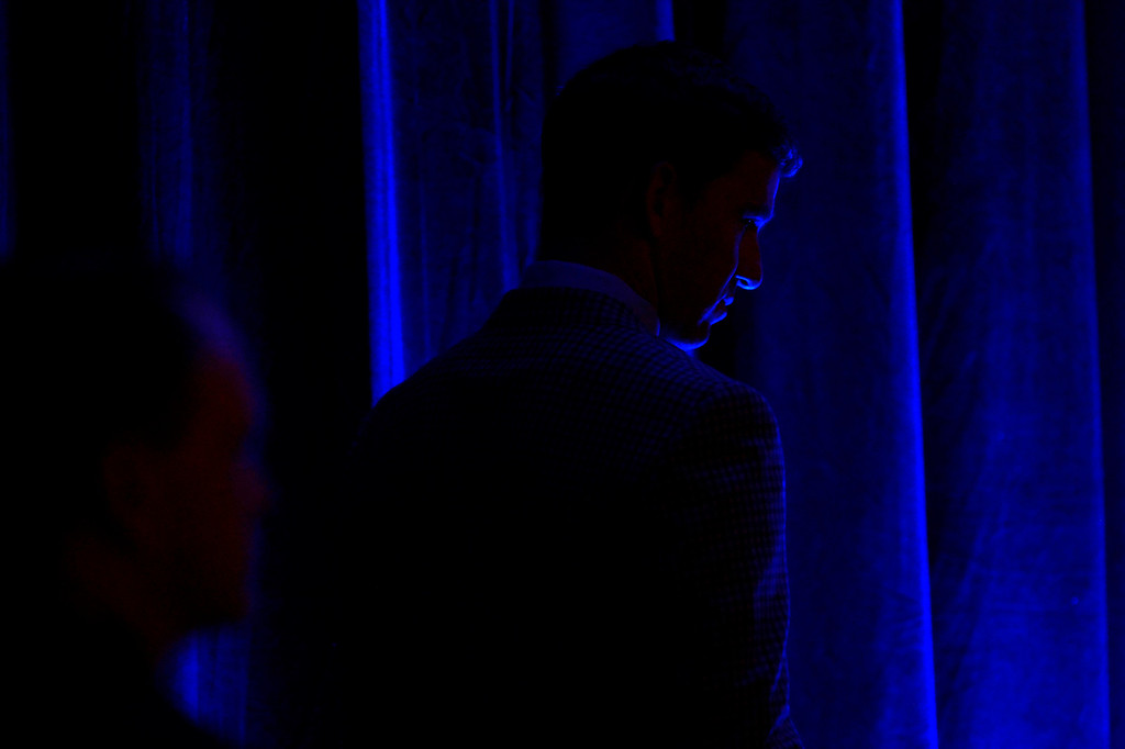 . SAN FRANCISCO, CA - FEBRUARY 05: New York Giants quarterback Eli Manning waits with Benjamin Watson and Anquan Boldin wait to speak as  finalists for the Walter Payton NFL Man of the Year Award at the Moscone Center in downtown San Francisco, CA. February 05, 2016 (Photo by Joe Amon/The Denver Post)