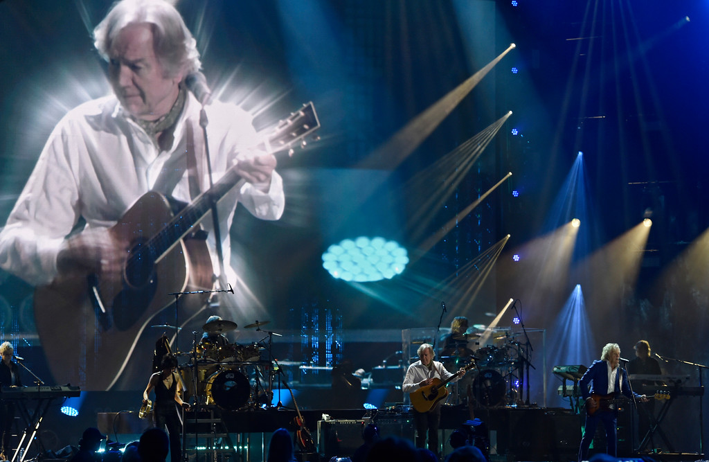 . The Moody Blues perform during the Rock and Roll Hall of Fame induction ceremony, Saturday, April 14, 2018, in Cleveland. (AP Photo/David Richard)