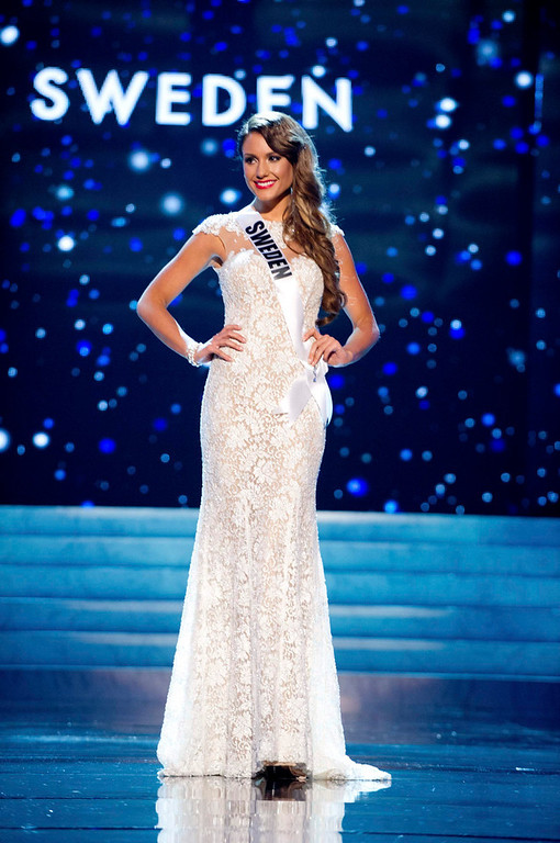. Miss Sweden 2012 Hanni Beronius competes in an evening gown of her choice during the Evening Gown Competition of the 2012 Miss Universe Presentation Show in Las Vegas, Nevada, December 13, 2012. The Miss Universe 2012 pageant will be held on December 19 at the Planet Hollywood Resort and Casino in Las Vegas. REUTERS/Darren Decker/Miss Universe Organization L.P/Handout