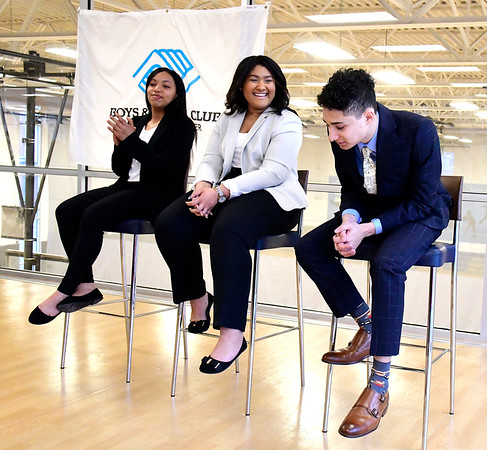 3/10/2020 Mike Orazzi   Staff Josias Reynoso reacts as he is named Youth of the Year at the Boys & Girls Club of Bristol as fellow nominees and Nadishca Valdes and Jasmine Trotmon applaud.