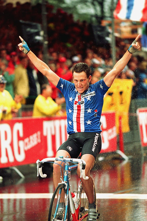 . Lance Armstrong of Austin, Texas, crosses the finish line to win the professional men\'s world championship road race in Oslo, Norway, Sunday, Aug. 29, 1993.  (AP Photo/Michel Euler)