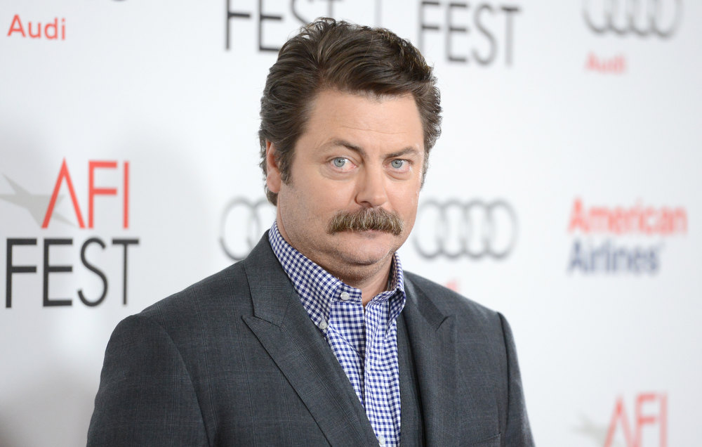 "Description of . Actor Nick Offerman arrives at the ""Somebody Up There Likes Me\"" premiere during the 2012 AFI Fest presented by Audi at Grauman\'s Chinese Theatre on November 3, 2012 in Hollywood, California.  (Photo by Jason Merritt/Getty Images)"