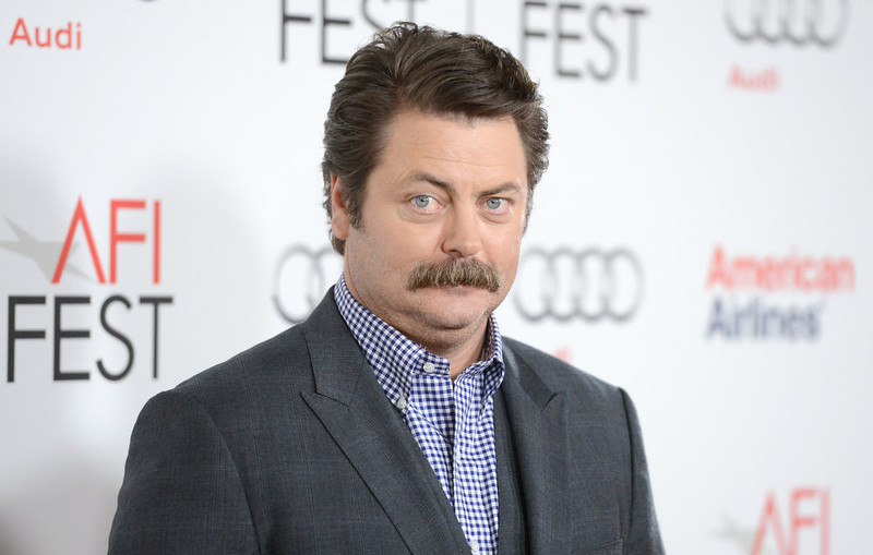 ". Actor Nick Offerman arrives at the ""Somebody Up There Likes Me\"" premiere during the 2012 AFI Fest presented by Audi at Grauman\'s Chinese Theatre on November 3, 2012 in Hollywood, California.  (Photo by Jason Merritt/Getty Images)"