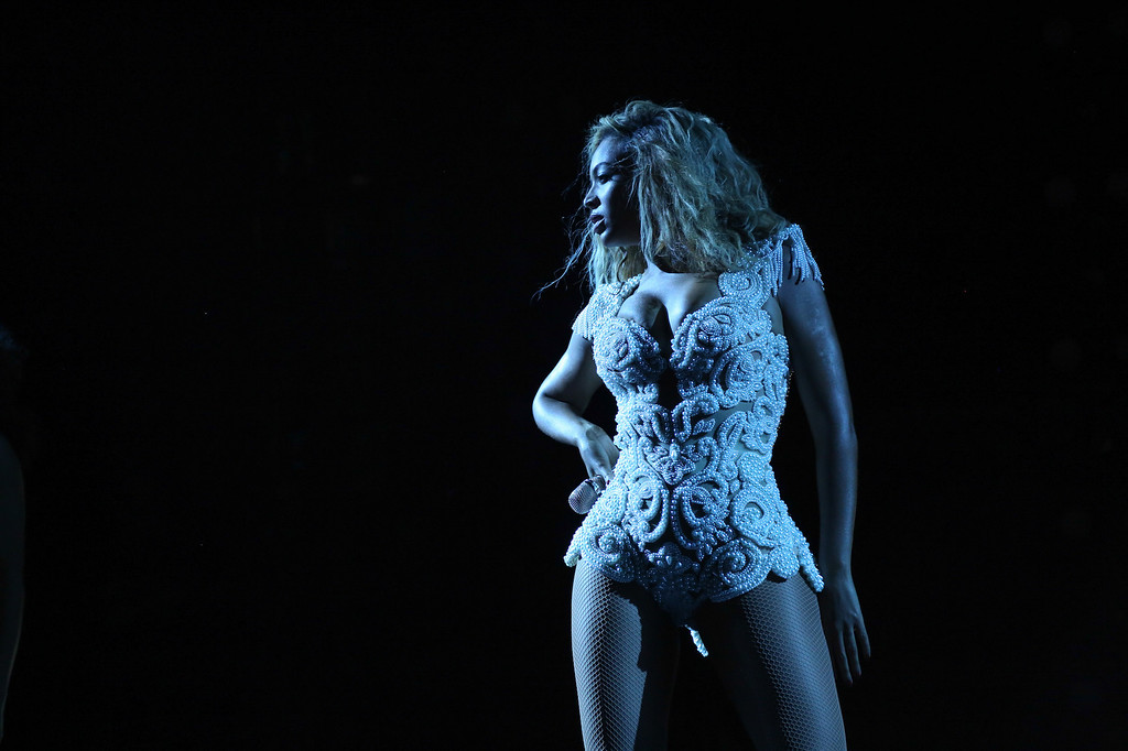 ". Singer Beyonce performs on her ""Mrs. Carter Show World Tour 2013,\"" on Sunday, September 8, 2013 at the Arena Castelao in Fortaleza, Brazil. (Photo by Robin Harper/Invision for Parkwood Entertainment/AP Images)"