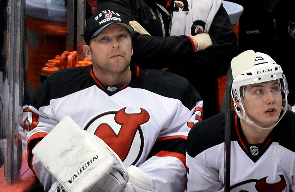 . DENVER, CO - JANUARY 16: New Jersey Devils goalie Martin Brodeur (30) sits on the bench during their game against the Colorado Avalanche during the second period January 16, 2014 at Pepsi Center. (Photo by John Leyba/The Denver Post)