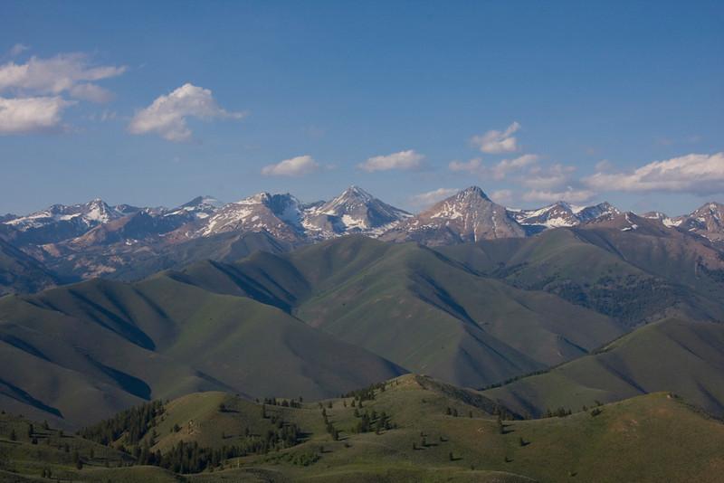 A late June panorama of the Pioneer Mountains.  From left to right the peaks are: Salzburger Spitzl, Goat Peak, Duncan Ridge, Cobb Peak (hiding Old Hyndman), Big Basin Peak, Jacqueline Peak.