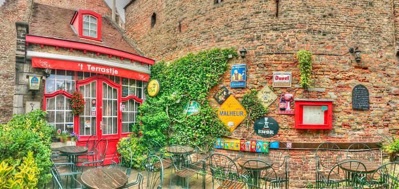 Colorful cafe - Bruges