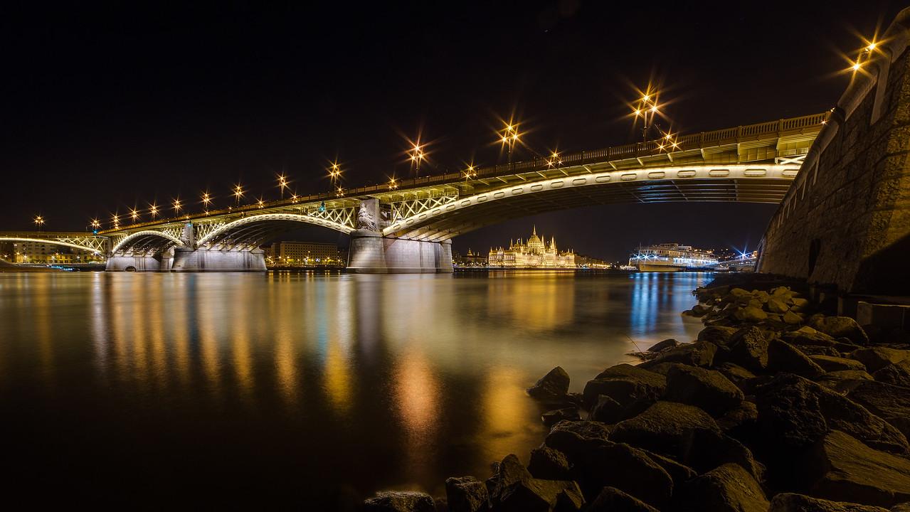 Margaret Bridge and Parliament from Danube - HDR