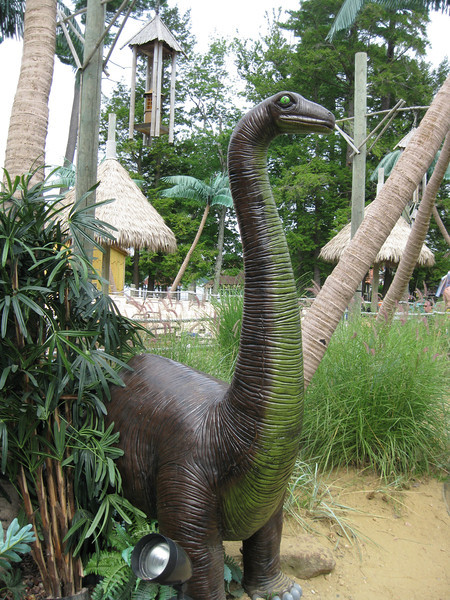 Dinosaur statue in front of Castaway Island.