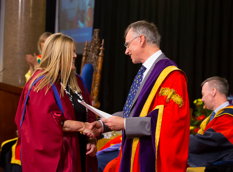 01/11/2017. Waterford Institute of Technology Conferring. Pictured is Mary Kelly from Waterford who was conferred a PhD, also pictured is Prof. Willie Donnelly, President of WIT.  Picture: Patrick Browne