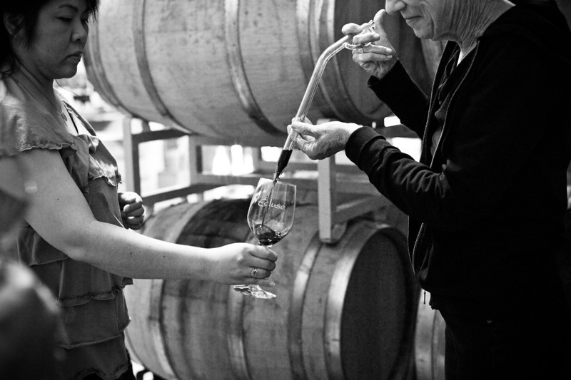 Wine tasting out of the barrel, Ecluse Winery