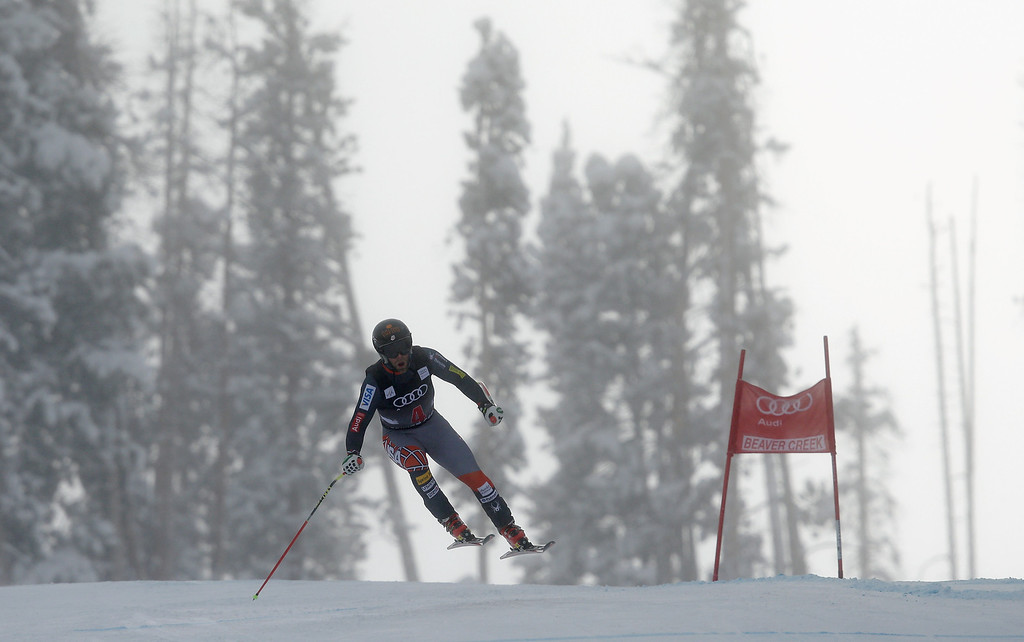 . Travis Ganong of the USA skis during the FIS Beaver Creek Men\'s Downhill World Cup race on December 6, 2013 in Beaver Creek, Colorado.  (Photo by Ezra Shaw/Getty Images)