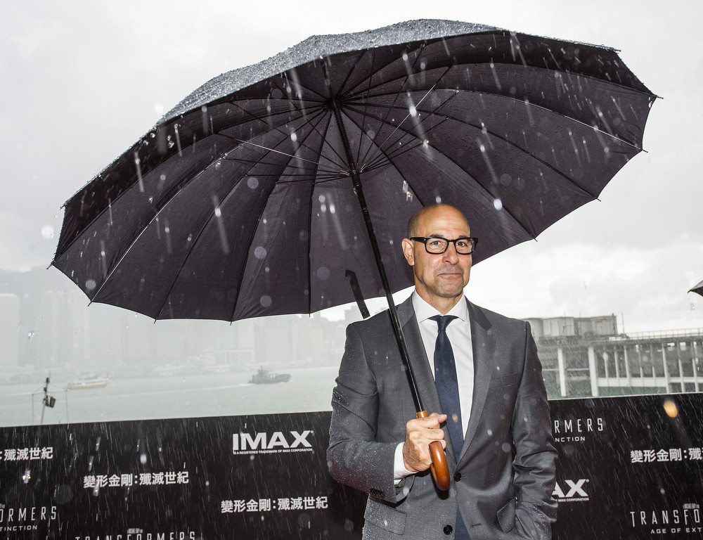 """. Stanley Tucci arrives at the worldwide premiere screening of \""""Transformers: Age of Extinction\""""at the  on June 19, 2014 in Hong Kong. (Photo by Jerome Favre/Getty Images for Paramount)"""