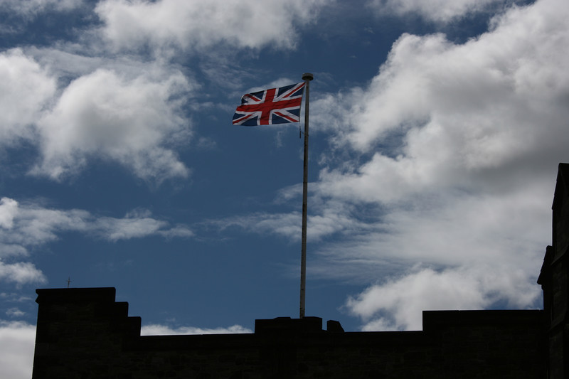 Union Jack above Edinburgh Castle.