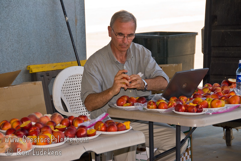 Peach and Nectarine evaluation 6-14-2008 with Dr. David H. Byrne from Texas A & M University.