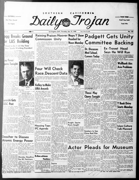 Daily Trojan, Vol. 40, No. 123, April 21, 1949