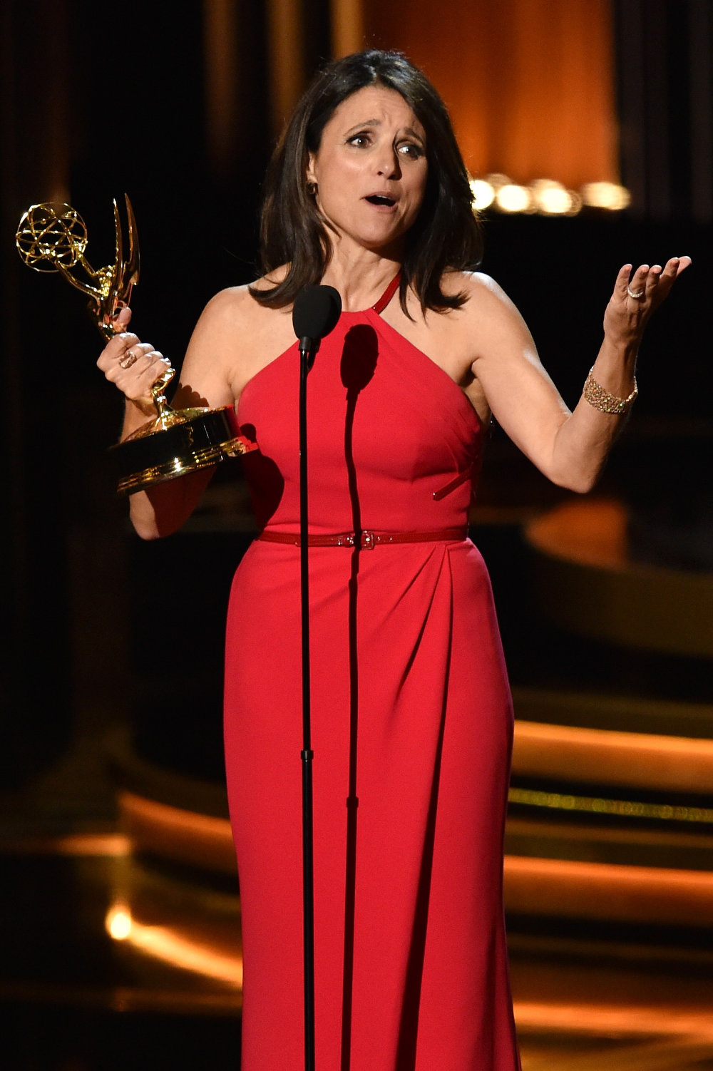 . Actress Julia Louis-Dreyfus accepts Outstanding Lead Actress in a Comedy Series for \'Veep\' onstage at the 66th Annual Primetime Emmy Awards held at Nokia Theatre L.A. Live on August 25, 2014 in Los Angeles, California.  (Photo by Kevin Winter/Getty Images)