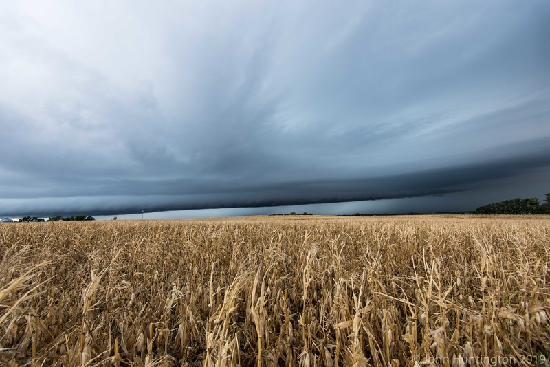 A severe-warned thunderstorm approaching an Iowa cornfield.