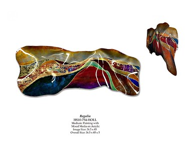 "Regalia-Hollack, 36.5""x85""x3"" painting with mixed media on acrylic"