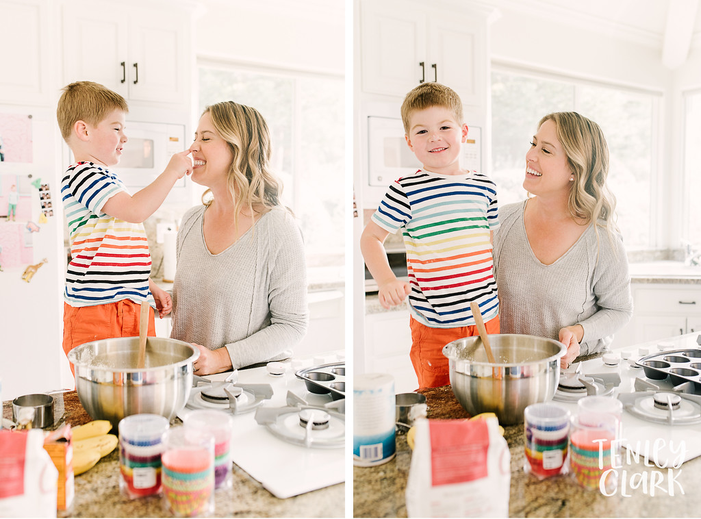 Mom and son baking. Lifestyle in-home family photoshoot with snuggles, couch forts, baking, guitar, baseball, and playing cards. By Tenley Clark Photography.