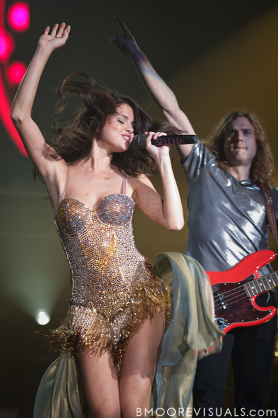Selena Gomez and Joey Clement of Selena Gomez and The Scene perform in support of When The Sun Goes Down in Clearwater, Florida on July 30, 2011