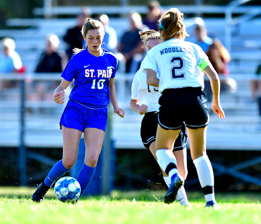 9/17/2019 Mike Orazzi | StaffrSt. Paul's Reagan Davis (10) during girls soccer with Woodland in Bristol Tuesday afternoon.