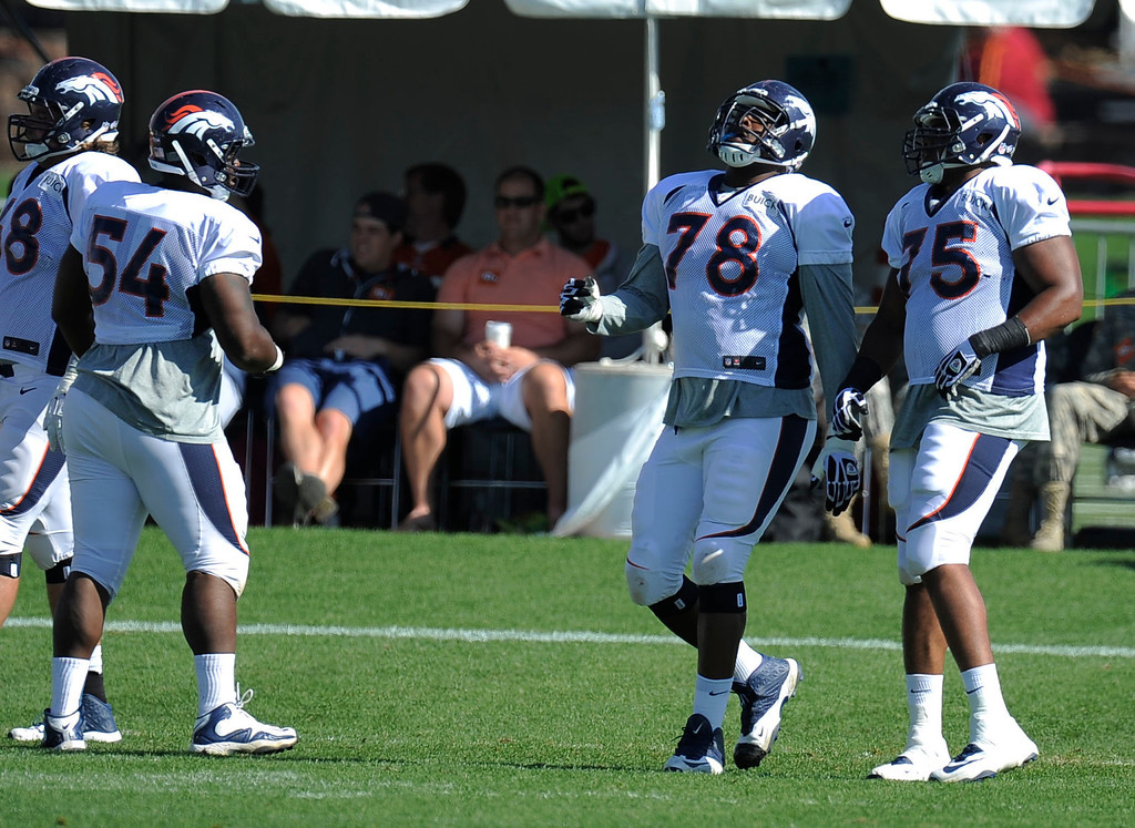 . Denver Broncos\' Ryan Clady (78) is back in pads during training camp August 13, 2013 at Dove Valley. (Photo By John Leyba/The Denver Post)