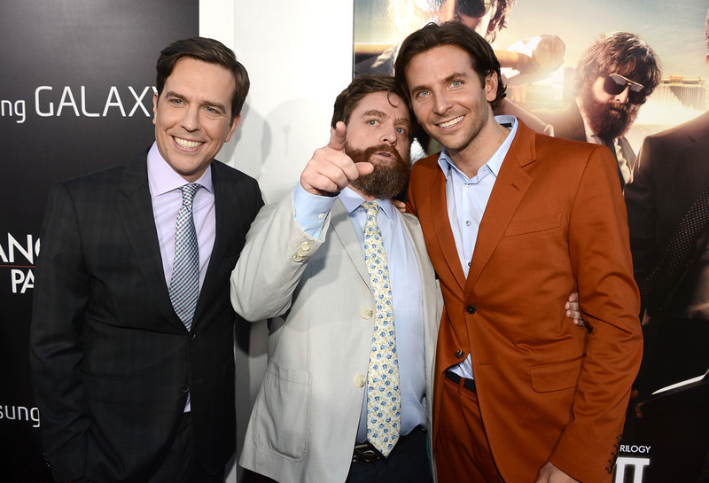 """. Actors Ed Helms, Zach Galifianakis, and Bradley Cooper arrive at the premiere of Warner Bros. Pictures\' \""""Hangover Part 3\"""" on May 20, 2013 in Westwood, California.  (Photo by Kevin Winter/Getty Images)"""