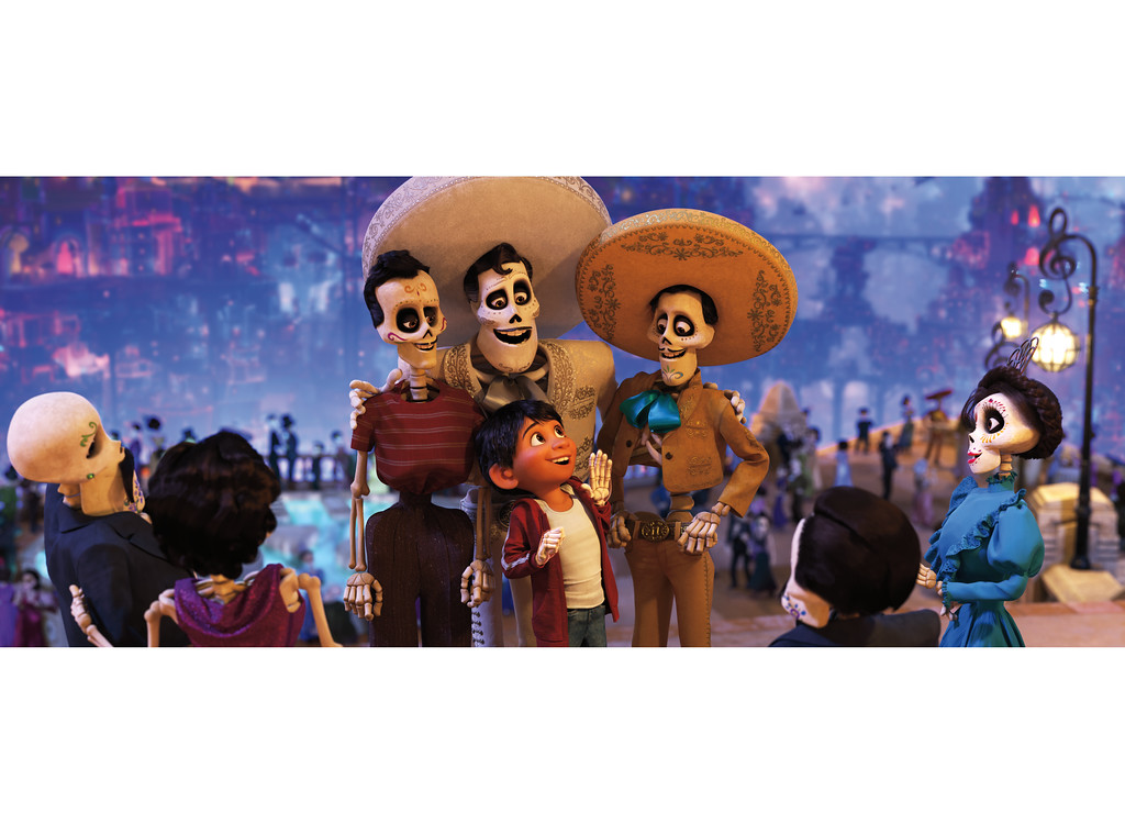 """. Young Miguel, voiced by Anthony Gonzalez, meets his idol, Ernesto de la Cruz, voiced by Benjamin Bratt, in the land of the dead in \""""Coco.\"""" The movie is in theaters Nov. 22. (Disney-Pixar)"""