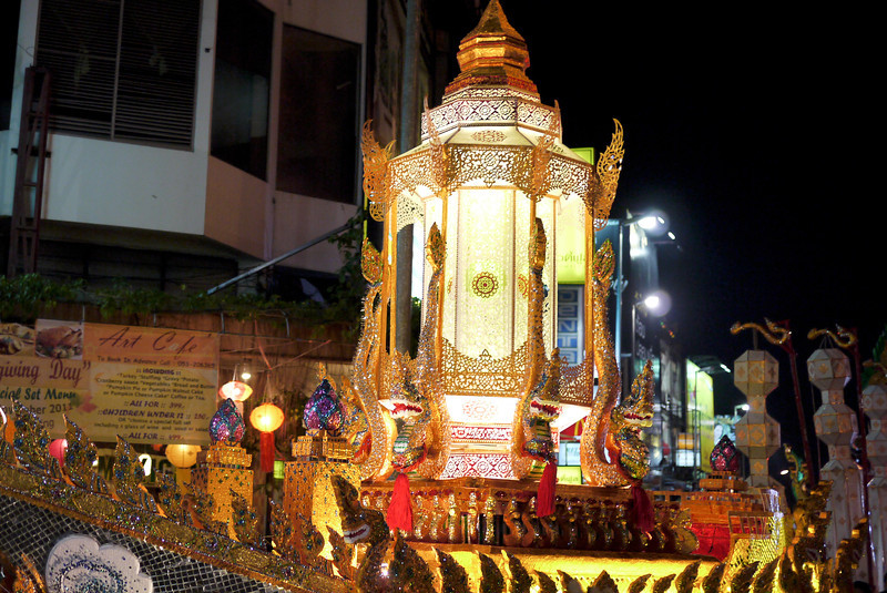 A large parade float during Loy Krathong in Chiang Mai, Thailand