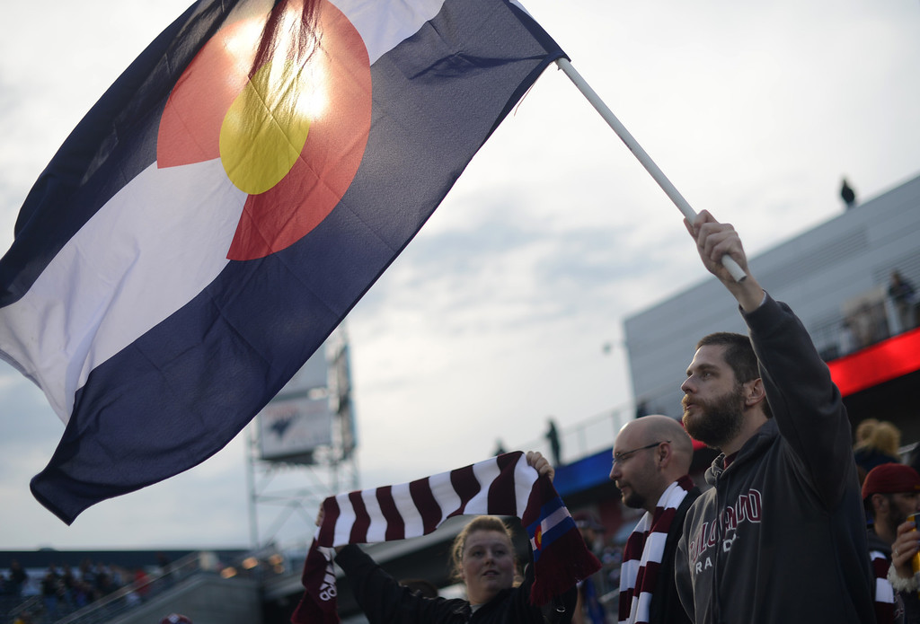 . COMMERCE CITY, CO. - MAY 04 : Colorado Rapids fans cheer the team during the game against Toronto FC at Dick\'s Sporting Goods Park in Commerce City, Colorado. May 4, 2013. (Photo By Hyoung Chang/The Denver Post)