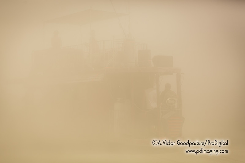 Near zero visibility at the airport at noon.