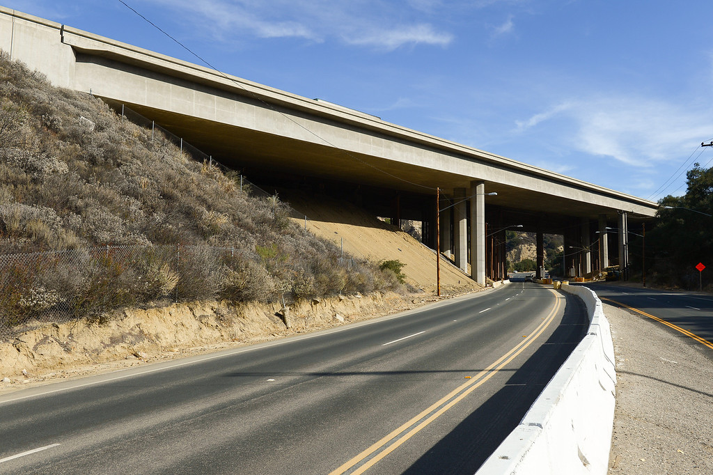 . The Old Road as it passes under the Golden State Freeway in Newhall. (Photo by Michael Owen Baker/L.A. Daily News)