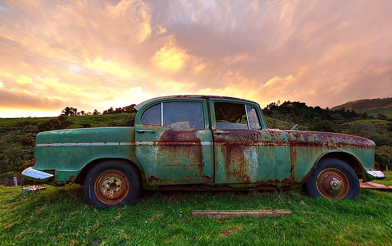 """The Mighty Humber Hawk.  Well at least I think its a Humber Hawk.  If I didn't have my walking automobile encyclopedia of a father with me when I took this it would just be """"a derelict car"""".  Not a bad reward for being chased down a mountain by bad weather."""