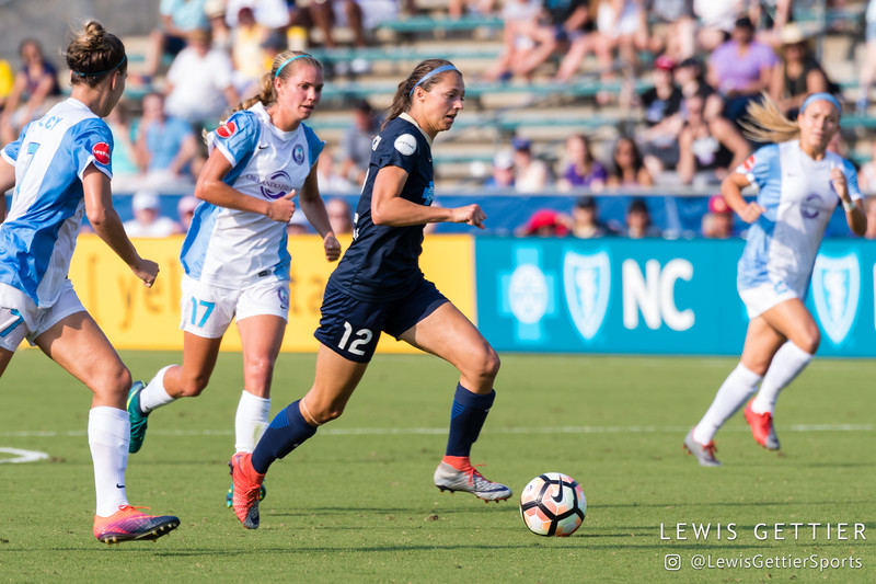 Ashley Hatch (12) during a match between the NC Courage and the Orlando Pride in Cary, NC in Week 3 of the 2017 NWSL season. Photo by Lewis Gettier.