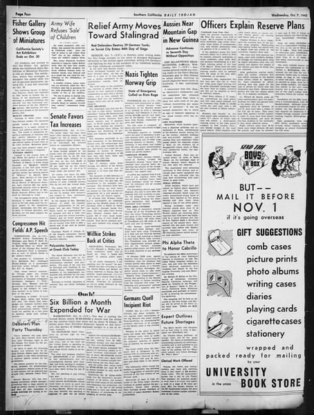 Daily Trojan, Vol. 34, No. 14, October 07, 1942