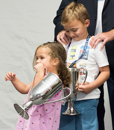 06/24/18 Wesley Bunnell   Staff The final day of The Travelers Championship at TPC River Highlands in Cromwell on Sunday June 24. Tournament Champion Bubba Watson's children Dakota and Caleb hold copies of the championship trophy.