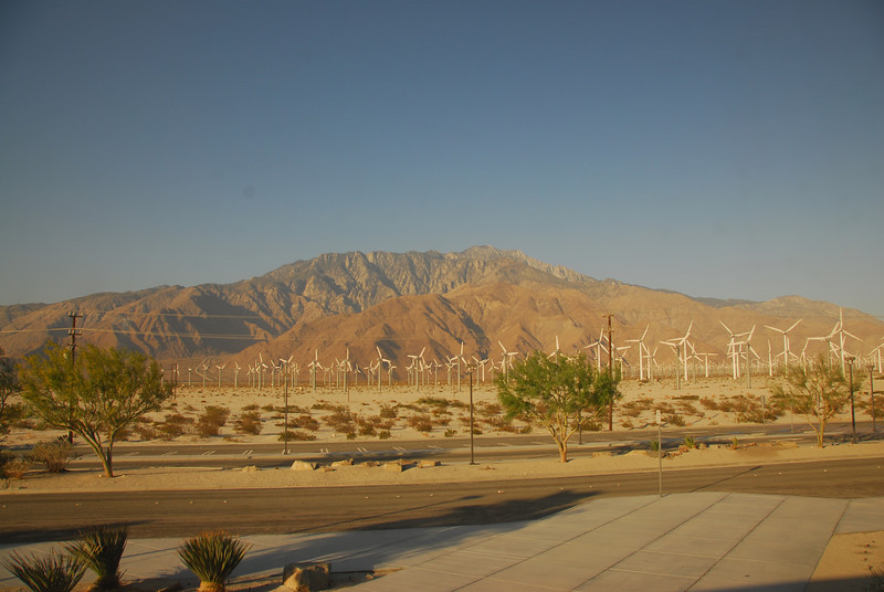 The Coachella Valley behind windmills in Palm Springs along the Amtrak route in California
