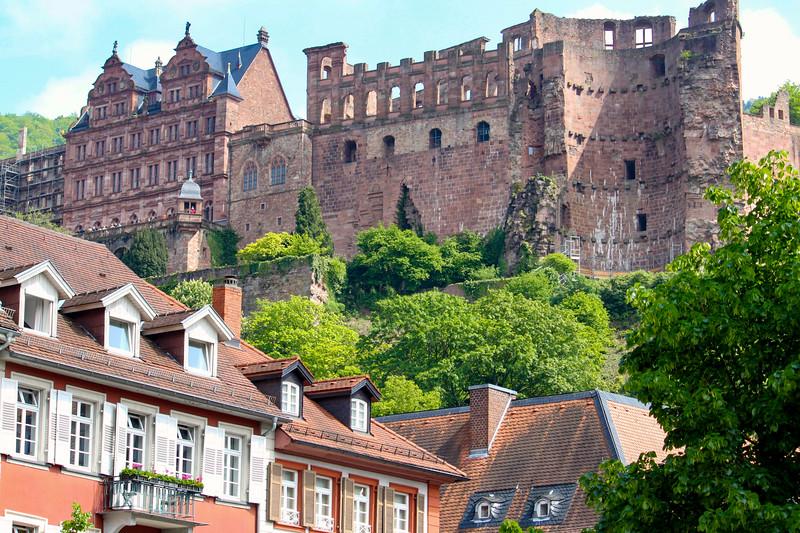 The castle from Karlsplatz in Heidelberg
