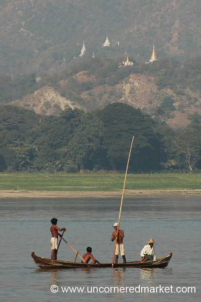 Small Boat on Irrawaddy River - Mandalay, Burma