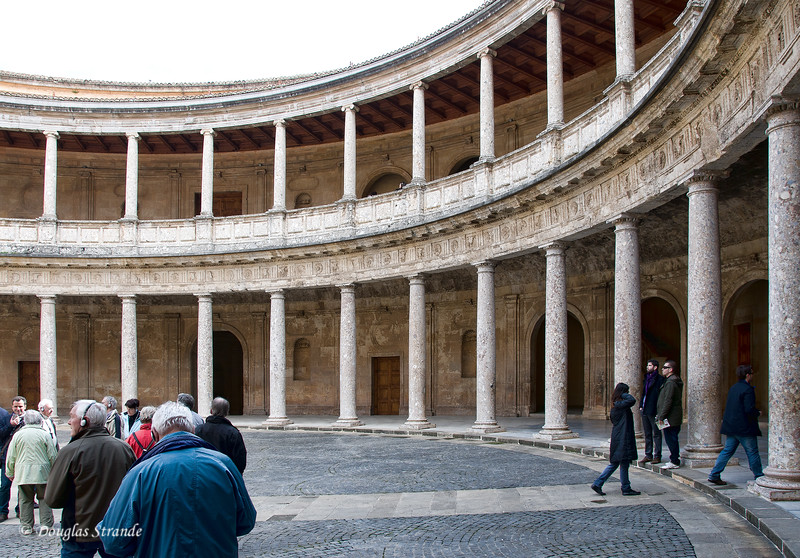 Fri 3/11 at La Alhambra in Grenada: Inner court of the Palace of Charles V