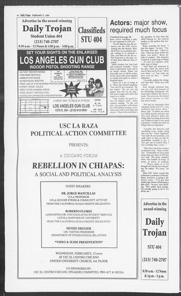 Daily Trojan, Vol. 122, No. 15, February 02, 1994