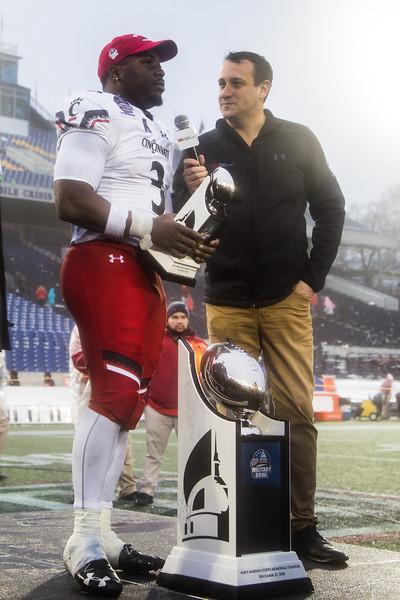 Cincinnati running back #3 Michael Warren II accepts the Military Bowl Most Valuable Player Award