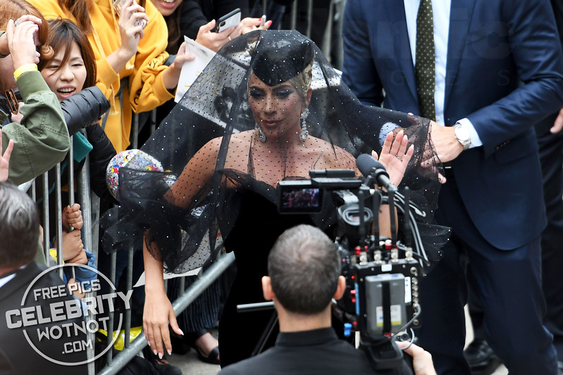 Lady Gaga Wears An Armani Privé Funeral Veil At 'A Star Is Born' Premiere In Toronto, Canada