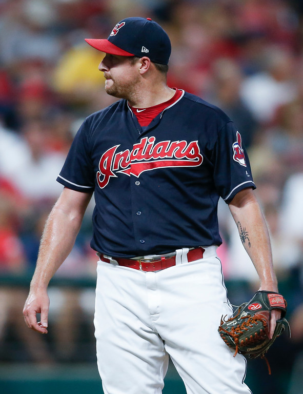 . Cleveland Indians relief pitcher Bryan Shaw reacts after giving up a three run home run to Minnesota Twins\' Brian Dozier during the eighth inning in a baseball game, Tuesday, Sept. 26, 2017, in Cleveland. (AP Photo/Ron Schwane)