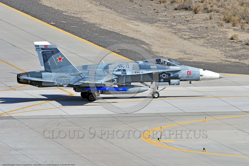 F-18A-USN-VFC-12 0019 A taxing McDonnell Douglas F-18A Hornet USN jet fighter 163113 VFC-12 FIGHTING OMARS at NAS Fallon 3-2017 military airplane picture by Peter J Mancus     DONEwt.JPG