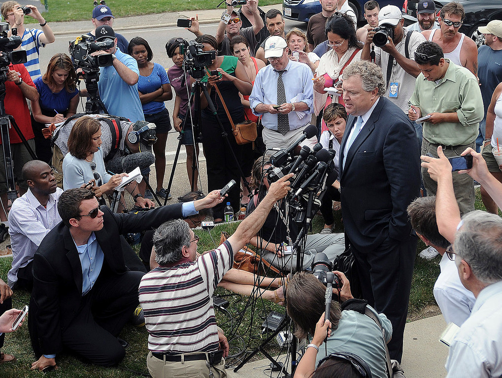. Michael Fee, defense attorney for former New England Patriots tight end Aaron Hernandez, speaks to the media outside Attleboro District Court after Hernandez was arraigned Wednesday, June 26, 2013, in Attleboro, Mass. Hernandez was charged with murdering Odin Lloyd, a 27-year-old semi-pro football player for the Boston Bandits, whose body was found June 17 in an industrial park in North Attleborough, Mass.   (AP Photo/The Sun Chronicle, Mark Stockwell)