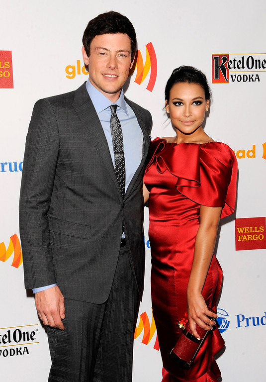 ". Event co-hosts Cory Monteith and Naya Rivera from the cast of ""Glee\"" pose together at the 23rd Annual GLAAD Media Awards on Saturday, March 24, 2012 in New York. (AP Photo/Evan Agostini)"