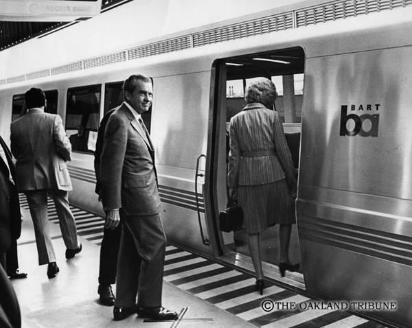 . San Leandro, CA September 27, 1972 - President and Mrs. Nixon board a BART train at San Leandro Station for a trip to Oakland. (Lonnie Wilson / Oakland Tribune Staff Archives)