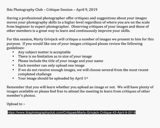 Marty Grivjack Critique #43 - April 9, 2019